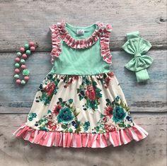 Floral/Stripe Sleeveless Dress