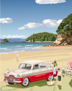 Kaiteriteri Beach 1962 - New Zealand Art Prints- Vintage car Nelson New Zealand, New Zealand Art, Nz Art, Art For Art Sake, Bora Bora, Bali, New Zealand Landscape, Retro Caravan, New Zealand Houses