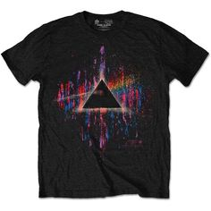 Officially licensed merch from Pink Floyd Dark Side Of The Moon Pink Splatter Slim Fit T-Shirt available at Rockabilia Pink Floyd Merchandise, Pink Floyd T Shirt, Pink Floyd Dark Side, Band Merch, Black Cotton, Moon, Mens Tops, Shirts, Clothes