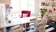 Love this pretty and functional home office.  Doesn't hurt that the accent color is pink!