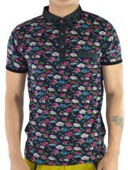 BLUE SHIRT WITH ROSE PRINT