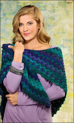 Picot-Boo Shawl in Red Heart Boutique Unforgettable by Crochet World magazine