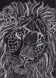 ACEO Original Lion art King of the Zentangle cat tiger fantasy animal card atc