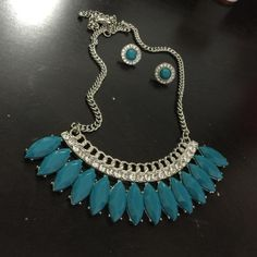 Fancy necklace with earrings Turquoise and silver Jewelry Necklaces