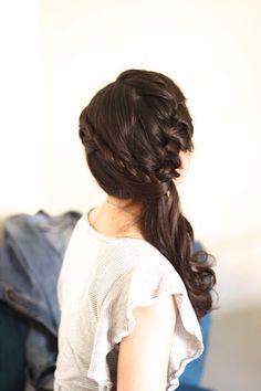 Wedding hair style - side pony tail with braid - www.imagibyfiona.com