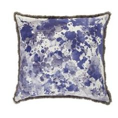Watercolour Floor Cushion - Blues with grey fringing - Bonnie and Neil