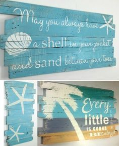 Beach Paintings on Wood.... http://www.beachblissdesigns.com/2016/10/beach-paintings-on-reclaimed-wood.html One of a Kind..., Palm Trees, Starfish, Quotes...