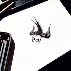 Swallow #swallow #skull #head #draw #illustration #inspiration #art #tattoo #flash #sketch #drawing
