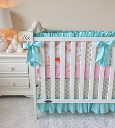 Mint and Blush Watercolor Floral Crib Bedding