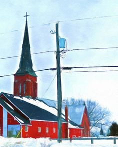 Red rural church at wintertime by Tatiana Travelways - Beautiful red rural church in Lafontaine, a small village in Southern Ontario, with a French name, at wintertime. I was inspired to make my photo as a digital painting