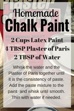 Inexpensive Homemade Chalk Paint How to make homemade Chalk Paint. Have you joined the Chalk Paint craze yet? I love the look and feel of Chalk Paint but I definitely don't like the price. Diy Chalk Paint Recipe, Make Chalk Paint, Homemade Chalk Paint, Chalk Paint Projects, Chalk Paint Furniture, Chalk Paint Colours, Chalk Paint Tutorial, Chalk Crafts, Chalky Paint