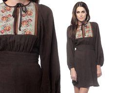 Boho Mini Dress 70s BIB Floral Hippie 1970s Bohemian by ShopExile