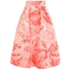 Coast Kalida Jacquard Skirt, Coral (€105) ❤ liked on Polyvore featuring skirts, a line midi skirt, red a line skirt, floral a line skirt, holiday skirts and red skirt