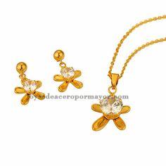 collar fina y aretes de flores estilo brillante cristal en acero dorado inoxidable para mujer -SSNEG481698