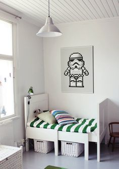 Cute storm trooper poster in kids room Star Wars Art, Lego Star Wars, Hunters Cabin, Starwars Lego, Star Wars Watch, Bedroom Images, Storm Troopers, Inspired Homes, Crossstitch