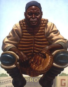 "Kadir Nelson, painting of Raleigh ""Biz"" Mackey. Negro leagues debut 1918, for the San Antonio Black Aces."