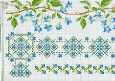 several border with flowers blue color - free cross stitch patterns crochet knitting amigurumi Cross Stitch Boarders, Cute Cross Stitch, Cross Stitch Flowers, Cross Stitch Charts, Cross Stitch Designs, Cross Stitching, Cross Stitch Embroidery, Embroidery Patterns, Hand Embroidery