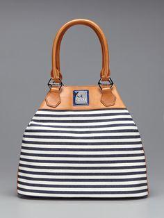 Gf Ferre Striped N S Tote Blue White