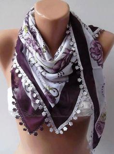 Turkish Shawl  Anatolians Scarf  with Lace Yemeni   Dark by womann, $15.90