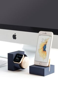 Native Union | iPhone Charging DOCK Collection in Midnight Blue and Gold: