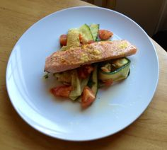 Lemon Salmon with grilled courgettes and tomatoes. London Eater, Lemon Salmon, Tomatoes, Zucchini