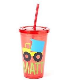 Another great find on #zulily! Red Dump Truck Personalized Tumbler by Ellery's Designs #zulilyfinds