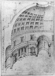 This drawing is by Bernardo della Volpaia, an architect who worked in Rome with Bramante and the Sangallo family. His precise birth and death dates remain unknown (a drawing of the Codex Coner, fol. 35)