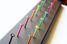 Handmade earring rack Jewelry holder Painted nail hooks Wooden jewelry ... Great idea!