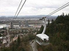 Portland's aerial tramway, carrying commuters between the city's South Waterfront district and the main Oregon Health & Science University (OHSU) campus, located in the Marquam Hill neighborhood.