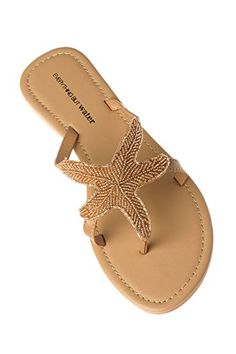 2d5f3bc83f72 Olivia Miller Womens Beaded Starfish Flip Flop Thong Sandals Champagne 7    Remarkable product available now. Sandals for Women