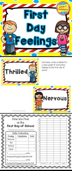 Keep those first day jitters at bay with this cute set! I created this product to complement First Day Jitters by Julie Dannenburg. However, you could use the graphing activity as an extension activity for many of your first day of school read alouds. Included in this set: One full-page title for the class graph -- Our First Day Feelings Four pages of graph labels for the class graph (including two blank labels for your ideas) One data collection (tally marks) page and bar graph activity.