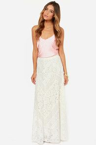 Drifting Moonlight Ivory Lace Maxi Skirt
