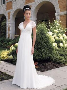 Wedding Dresses Front,Back and Detailed Pictures - A-Line Princess V-Neck Empire Cap Sleeve Non-Strapless Satin Chiffon Wedding Dress - Style WD5652