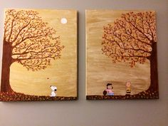 Charlie Brown Fall Canvas Painting by FabHoliday on Etsy