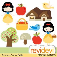 Cute Princess Clip art (snow white inspired) apple, birds, girl clipart. Collection of princess theme clip art. Cute princess, flying birds, apples, and more fun elements.These cliparts are great for teachers and educators for creating their school and classroom projects such as for bulletin board, printable, worksheet, classroom decor, craft materials, activities and games, and for more educational and fun projects.You will receive:- Each clipart saved separately in PNG format, 300 dpi with…