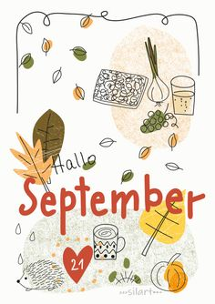 Hallo September Bullet Journal And Diary, Bullet Journal Books, Book Journal, Hallo September, Happy Greetings, Kalender Design, Autumn Illustration, Art N Craft, Months In A Year