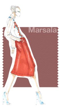 """PANTONE 18-1438 Marsala """"Interesting on its own and a wonderful contrast for other hues, PANTONE 18-1438 Marsala serves as the foundation to the Spring/Summer 2015 palette. Sensual and bold, delicious Marsala is a daringly inviting tone that nurtures; exuding confidence and stability ... .""""Leatrice Eiseman Executive Director, Pantone Color Institute®"""