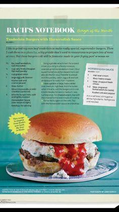 Rachel Ray tenderloin horseradish burgers
