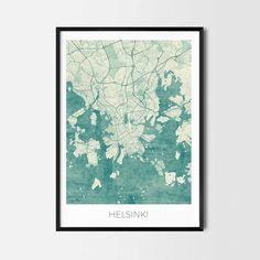 Helsinki art posters and prints of your favorite city. Unique design of Helsinki map. Perfect for your house and office or as a gift for friend.