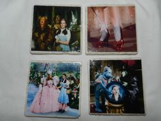 Set of four stone drink coasters that have images from the famous and popular family movie Wizard of Oz. Each coaster has a different scene from the movie.  Dorothy and Glinda the good witch, the wicked witch of the west , Dorothy's red slippers and a photo of Dorothy, the Scarecrow, Tin Man a...