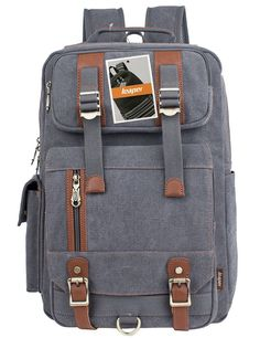 Leaper Vintage Canvas Laptop Backpack Travel Rucksack Shoulder College School Bag (Gray) > Stop everything and read more details here! : Christmas Luggage and Travel Gear