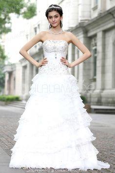 Robe de mariée blanche grandiose A-ligne à plusieurs niveaux en satin 2015