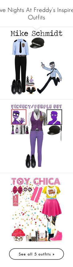 """Five Nights At Freddy's Inspired Outfits"" by dragonladydoctor ❤ liked on Polyvore featuring Topshop, Freddy, M&S Collection, Yves Saint Laurent, RED Valentino, August Hat, Anna Sui, women's clothing, women and female"