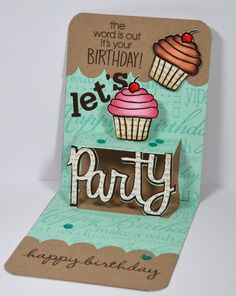 Fantastic Pop 'n Cuts Party card by Kelly Booth! Lovin The Life I Color: Happy Birthday Judith Blog Hop!!!