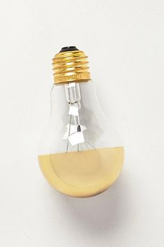 Anthropologie Half Gold Light Bulb loved by Unique Lighting, Home Lighting, Lighting Design, Light Decorations, Winter Decorations, Making Ideas, Light Up, Light Fixtures, Home Accessories
