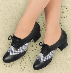 $59.95 Aris Allen Classic Houndstooth Oxford Swing Dance Shoes | Might lace up high enough to hold my insoles in place?