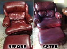Check out this leather chair & ottoman restoration. They were beginning to show signs of drying and cracking.
