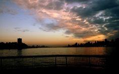 city scape, sunset, dark