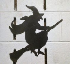 Witch on a Broom Stick Stick Metal Yard Art Artwork Halloween