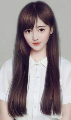 art, girl, and illustration Cute Cartoon Girl, Cute Girl Face, Anime Girl Cute, Kawaii Anime Girl, Anime Art Girl, Beautiful Girl Drawing, Beautiful Fantasy Art, Cute Girl Hd Wallpaper, Lovely Girl Image
